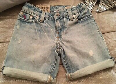 RALPH LAUREN Shorts Boys Frayed Faded Distressed Blue Denim Authentic POLO 2 3