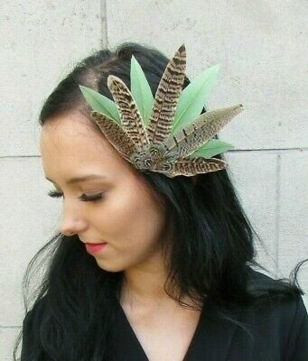 Sage Moss Olive Green Brown Pheasant Feather Hair Clip Fascinator Wedding 7430