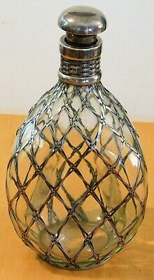 """Silver 950 overlay glass decanter 9"""" tall"""