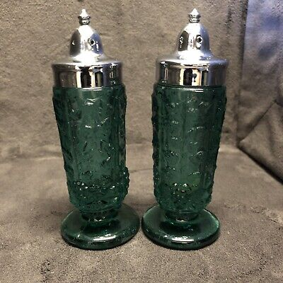 "Green Depression Glass Salt And Pepper Shakers Floral Pattern 4 1/4 "" Tall"