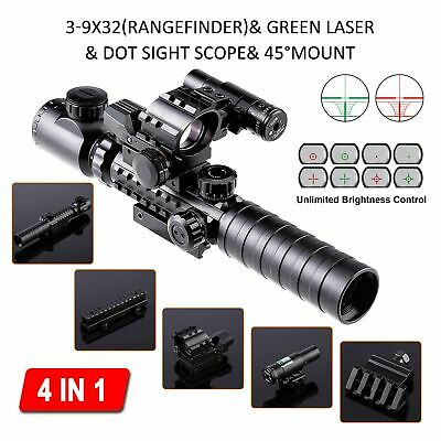 4-in-1 Combo 3-9x32EG Tactical Optical Reticle Riflescope Rangefinder New.