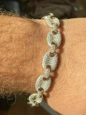 """Mens 12mm Gucci Link Bracelet Solid 925 Sterling Silver ICY Lab Diamond 6-9"""""""