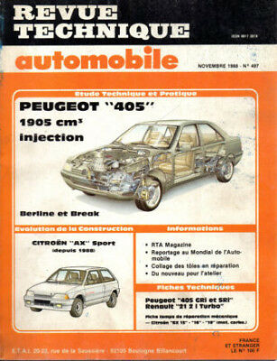 RTA revue technique automobile N° 497 PEUGEOT 405 1905 CM3 INJECTION AX SPORT