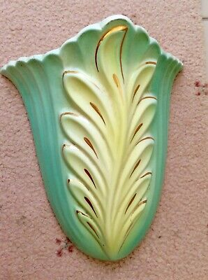 Vintage Australian Pottery Wall Pocket Vase - Art Deco - Green And Yellow 1940s