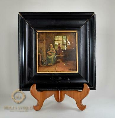 Antique Signed 19Th Century Handpainted Miniature Oil On Tile Painting