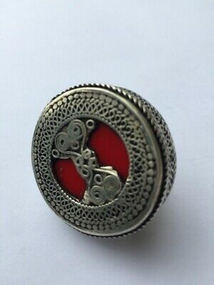 Afghan Statement Stone Red Big Ethnic Tribal Handmade Ring Jewellery