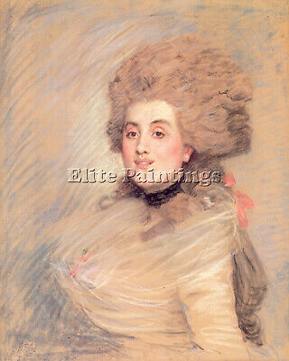 Tissot Portrait Actress 18Thc Dress Artist Painting Oil Canvas Repro Art Deco