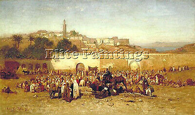 Tiffany Market Day Outside Walls Tangier Artist Painting Oil Canvas Repro Art