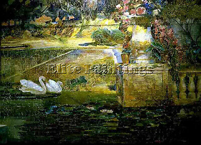 Tiffany Mosaic Fountain Detail Swans Artist Painting Oil Canvas Repro Art Deco