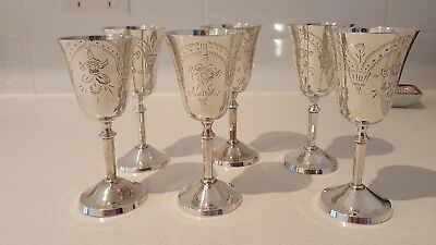 Vintage Silver Plated Sherry / Port Goblets x 6** price reduced **