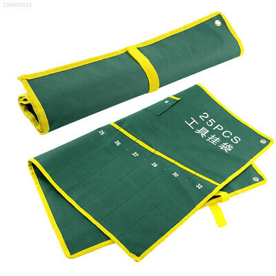 Durable 25 Pocket Canvas Roll Plier Wrench Tool Bag Case Rolling Hanging Suite