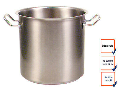 Vegetable Stew Soup Pot Cooking Professional Quality Stainless Steel 26L Ø32cm