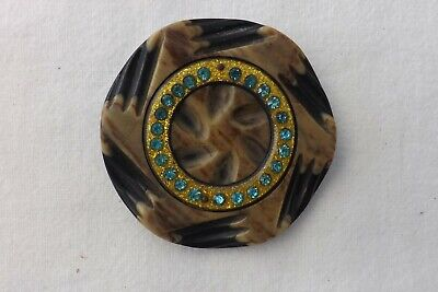 1950s LARGE CELLULOID AND GLASS CLOAK BUTTON   6cms (1148)