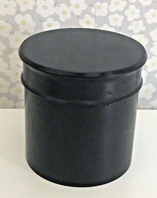 Antique Victorian Ebony Screw Top Trinket Jewellery Rings Vanity Pot Jar Box