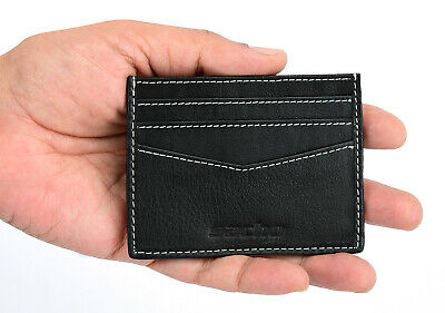 Mens GENUINE Leather Credit Card Holder Flip Wallet Slim RFID Blocking 6 Slots