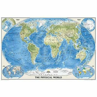 The Physical World, poster size, tubed Wall Maps World - Map NEW Maps, National
