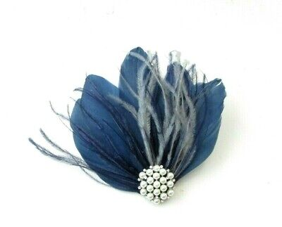 Navy Blue Grey Silver Pearl Feather Fascinator Hair Clip Races Wedding 7434