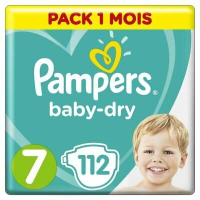 Pampers Baby-Dry Taille 7, 112 Couches - Pack 1 Mois