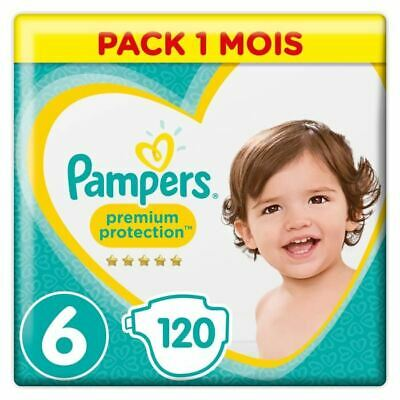 PAMPERS Premium Protection Taille 6 15+ kg - 120 Couches, Pack 1 Mois