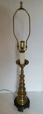 Vintage Solid Brass Buffet Table Lamp Footed Wood Base