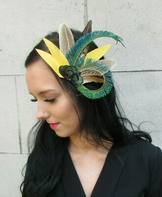 Green Peacock Mustard Yellow Brown Pheasant Feather Hair Clip Fascinator 7436