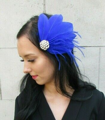 Navy Blue Grey Silver Pearl Feather Fascinator Hair Clip Races Wedding 7437