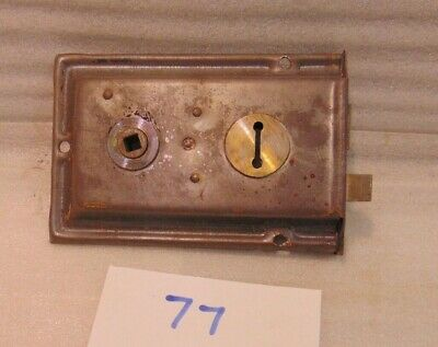 Antique Duel Handled Brass And Steel Rim Door Lock  77