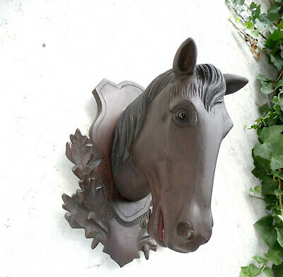 Vintage Big Heavy Head Of A Horse Mounted Onto A Carved Black Forest Plaque