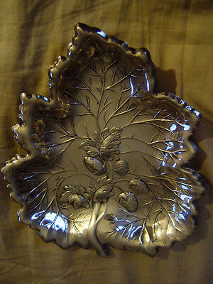 Vintage Silver Plated Leaf Shaped Serving Dish Marked Lehman Brothers  L.B. N.Y.