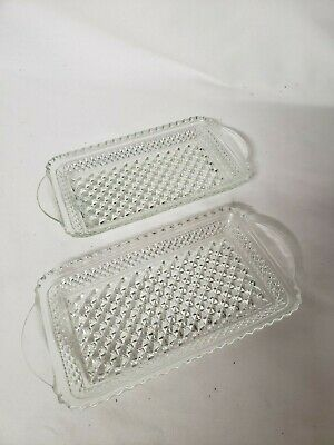 Vtg Clear Cut Crystal Rectangle Relish Hors d'oeuvre Appetizer Dish 1 Pair