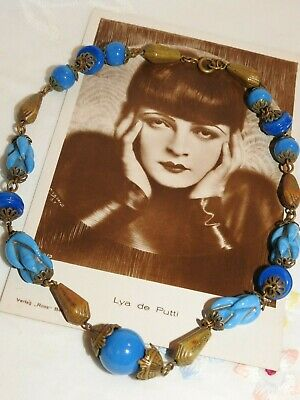 Authentic Vintage 1920's-30's Art Deco Czech  Blue Glass Beads Brass Findings