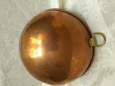 "Old Vintage REAL SOLID COPPER Authentic 8 1/2"" Mixing Bowl w/ Brass Ring Handle"