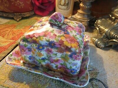 Old Foley James Kent Butter Dish '' Chintz ''  English Bone China