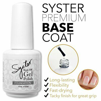 15ml SYSTER BASE COAT Nail Art Soak Off Gel Polish Manicure UV / LED Lamp