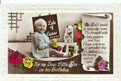 Greetings Postcard - For My Dear Little Son On His Birthday - RP - Ref 12083A