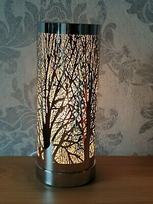Electric Aroma Lamp Wax Melt Burner White And Silver Tree Touch Sensitive