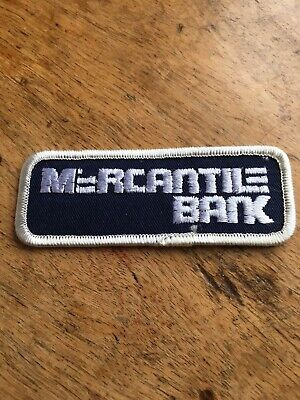 Vtg Mercantile Bank Sew On Embroidered Patch Canada USA Banking Financial