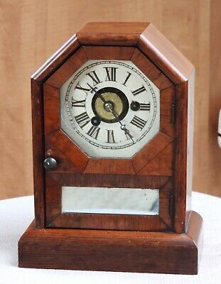 Antique Seth Thomas Wood Octagon Top Coffin Case Alarm Clock