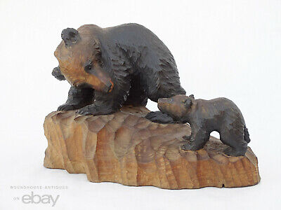 Antique Black Forest Style Wood Carved Bear Hokkaido Yakumo Japanese Folk Art