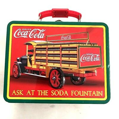 Ask The Soda Fountain Drink Coca Cola Tin Lunch Box Trinkets Red Truck