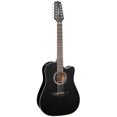 New Takamine GD30CE-12BLK Dreadnought 12-String Acoustic Electric Guitar, Black