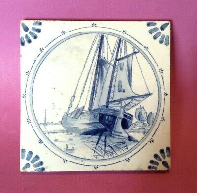 Delft Ceramic Tile - Vintage Hand Painted Blue And White Sail Boat - Holland