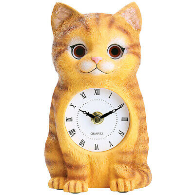 """NEW Cat Clock - Moving Eyes Back & Forth - Crafted In Etched Resin - 7.25"""" Tall"""