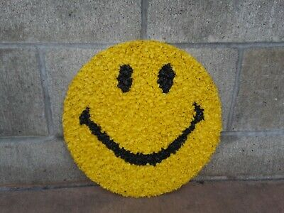 Vintage Melted Plastic Popcorn Decoration Happy Smiley Face Wall Art 70's Retro