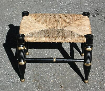 Vintage Hitchcock Style Stenciled Farmhouse Rush Seat Stool Footstool