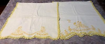 Lot Vintage Embroidered Runners Dresser Scarf Victorian Girl Flowers Yellow