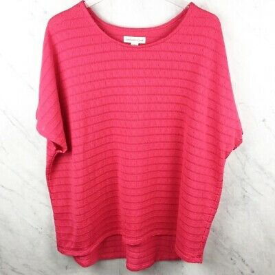 Coldwater Creek Sweater 2X Womens Hot Pink Cap Sleeve Lightweight