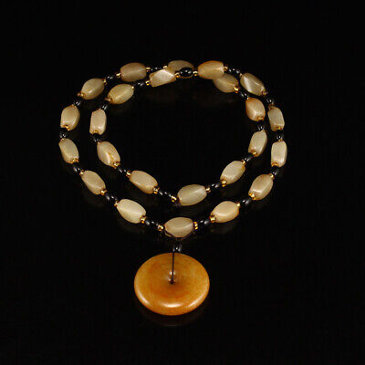 Vintage Chinese Hetian Jade Beads Necklace & Pendant w Certificate