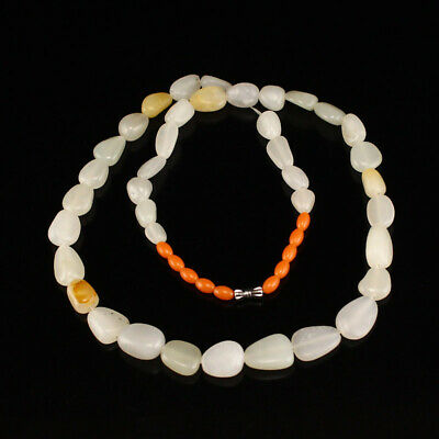 Chinese Hetian Jade Beads Necklace w Certificate