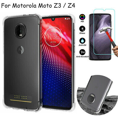 For Motorola Moto Z3 Z4 Play Shockproof Ultra Slim TPU Clear Case+Tempered Glass